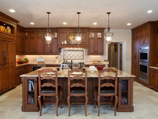 Kitchen Designs by Ken Kelly Wood Mode Kitchens Long Island Nassau Suffolk Queens.... I like this color of wood with a cream a island: Custom Kitchens, Kitchens Design, Dark Kitchens Cabinets, Traditional Kitchens, Kitchens Ideas, Long Islands, Kitchens Islands, Kitchens Pendants, Cabinets Design