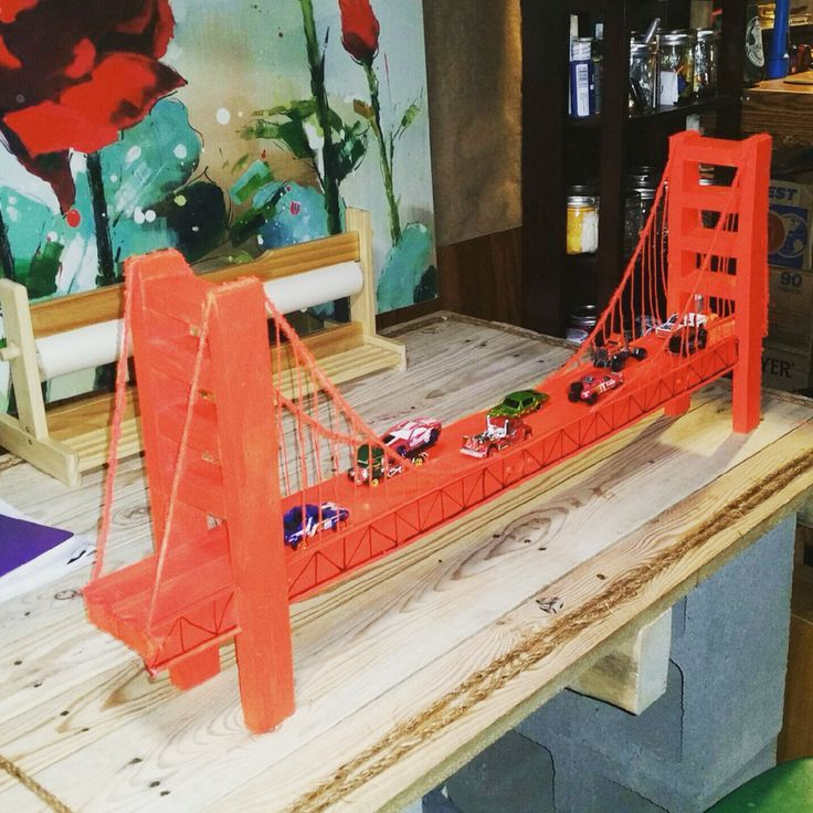 Golden Gate Bridge model with wood and spray paint from