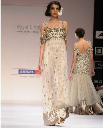 Champagne Gown with Antique Bronze and Gota Embroidery, Payal Singhal