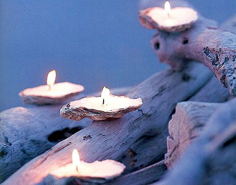 DIY Shell Candles on driftwood- easy, inexpensive and effective beach wedding centerpiece