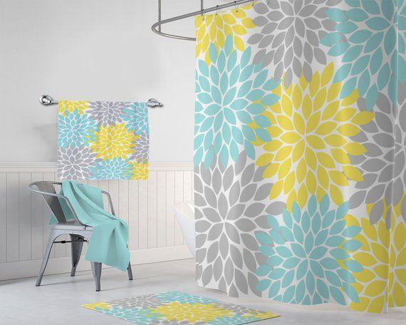 Yellow Aqua Gray Flower Shower Curtain Yellow Aqua Gray Bathroom