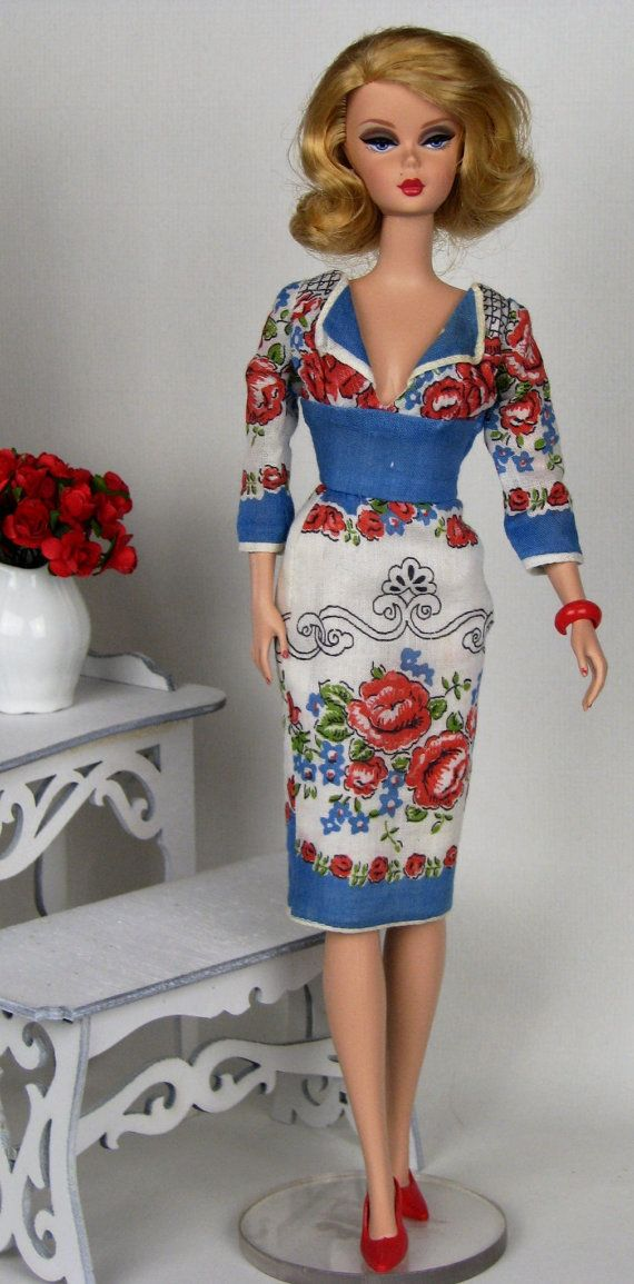 Blue and red empire waist dress for Silkstone Barbie made from vintage hankie by HankieChic, on Etsy now