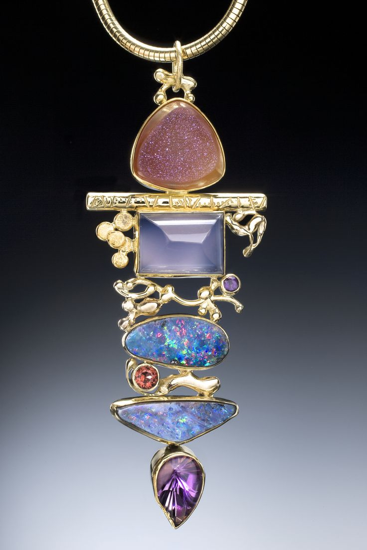Boulder opal pendant with chalcedony, drusy, amethyst in 22k and 18k gold. By Jennifer Kalled; Opals from Bill Kasso, Eagle Creek Opal
