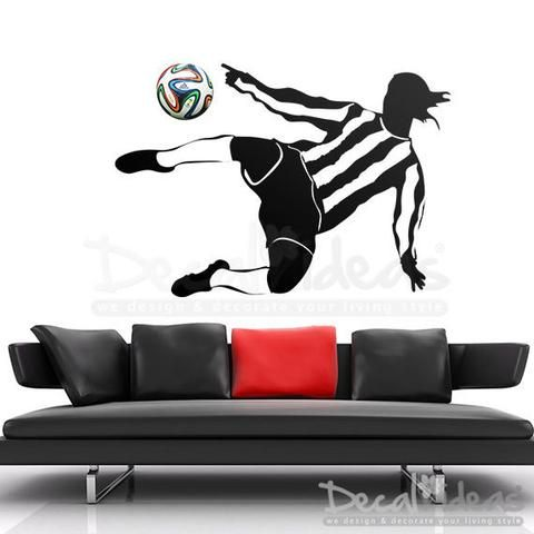 Soccer Player Ball Wall Decal, Football Wall Decal-Fifa Decal-World Cup Ball Decal-Children's Room - Football Room Decal Sticker -