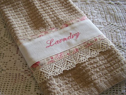 Decorative towel. Laundry hand towel with lace