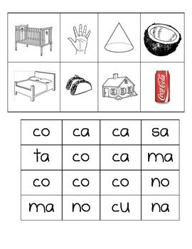 FREE - Spanish Making Words II-Picuteres and Silaba Cards cut and paste silabas