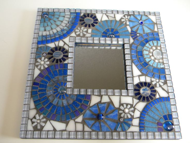 Beautiful Baby Blues Square Mosaic Mirror by TheMosartStudio