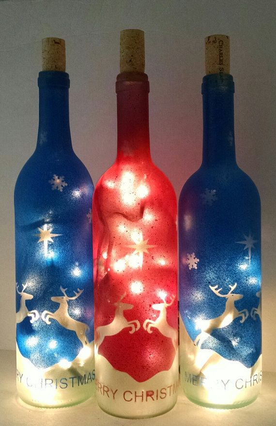 Red reindeer lighted christmas holiday wine by for Lighted wine bottle craft