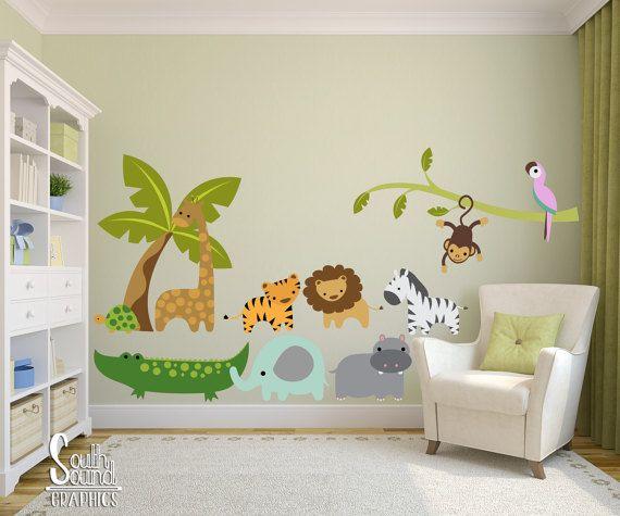 Fabric Wall Decal Set for Nursery and Kids Rooms - Jungle Safari Wall Decor - Boy Girl Wall Graphics - Childrens Baby Animals Bedroom Decor