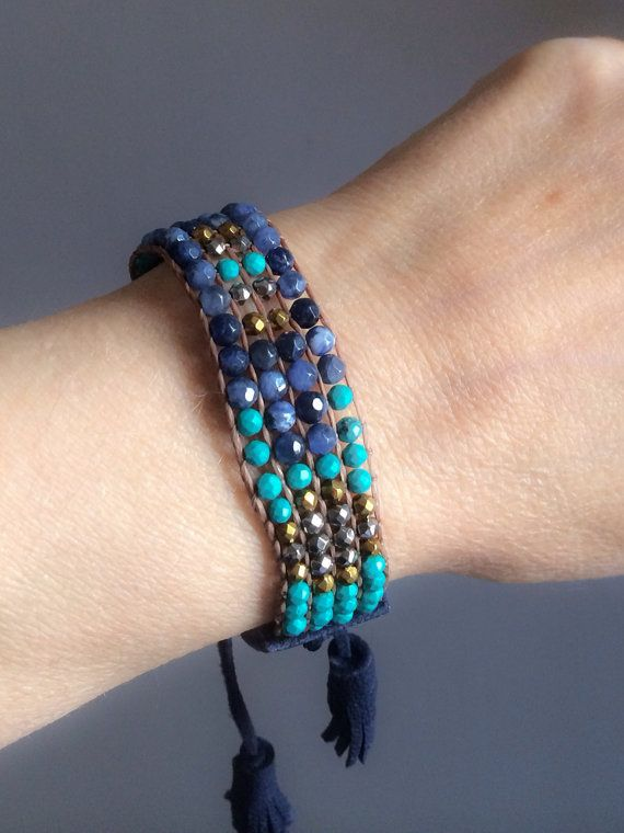 Faceted turquoise sodalite hematite and leather by BijouxaLaCarte, $38.00