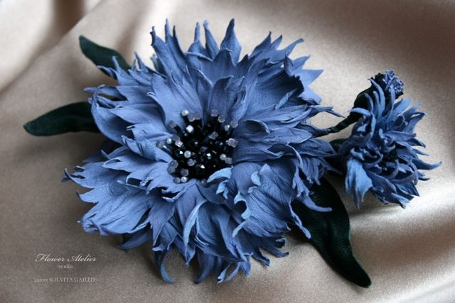 Cornflower. Flower Atelier. Latvia. Leather flower.