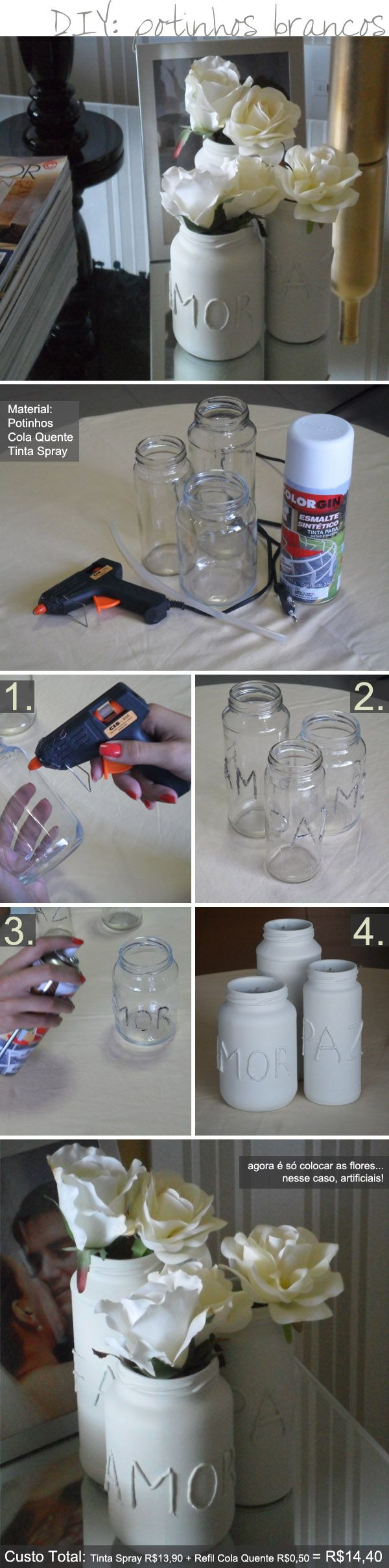 Potinhos de vidro na decoração.