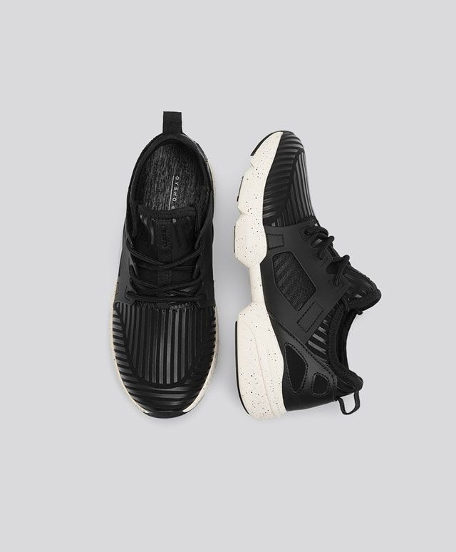 Black rubberised sneakers - Oysho
