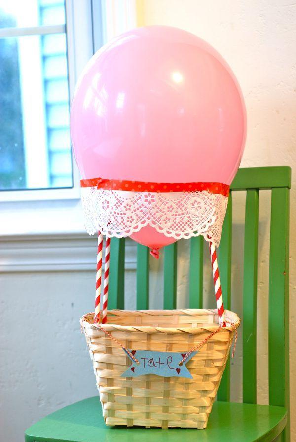 DIY Hot Air Balloon Valentine's Day Box Idea! See more creative Valentine's Day box ideas on www.prettymyparty.com.