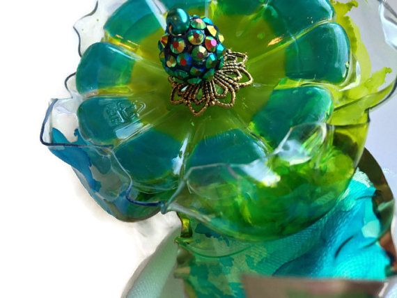 Green Napkin Ring Set, Gold Dipped Leaves, Seattle Sounders Decor, Hand Painted Lime Green & Turquoise Flower, Recycled Plastic Bottle Glass