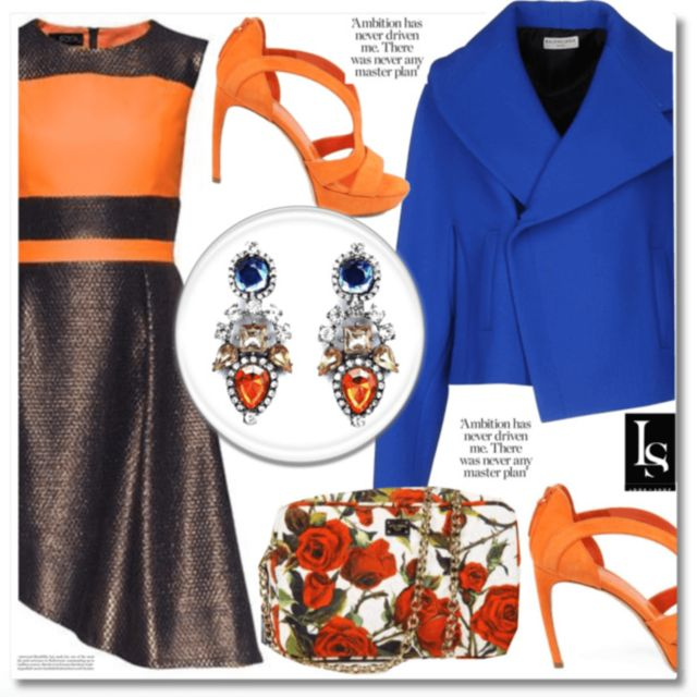 The colours of fall #chic #jacket #heels #dolce&gabbana #earrings #fashion #fashionnista  shop the look ---> http://lookshop.ca/pages/lookbook