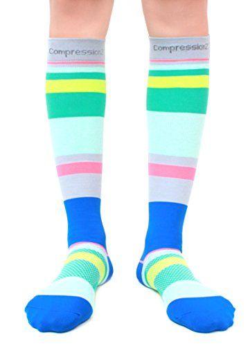 Compression Socks (Ocean Stripes L/ 20-30mmHg) Men & Women Fun Running Casual Socks