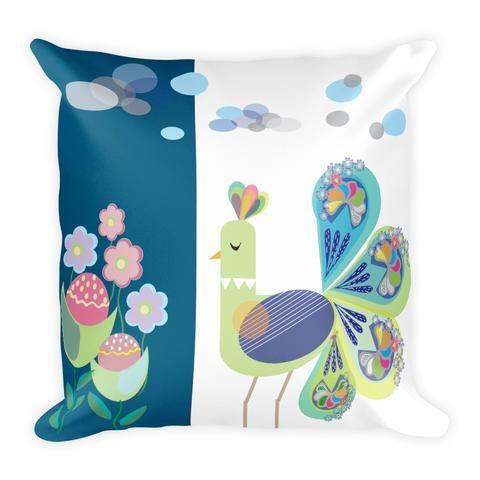 Spring peacock Dark cyan - Pillow