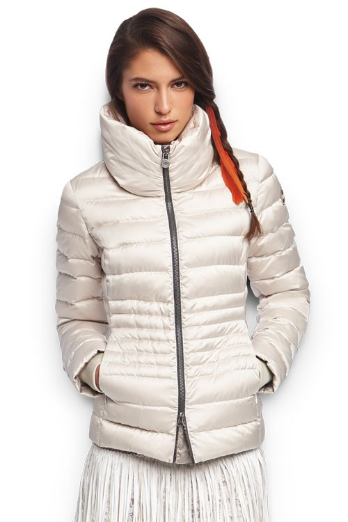 Women's down jacket in iridescent satin
