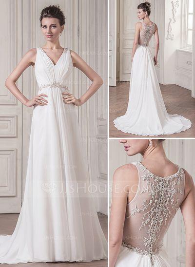 Forme Princesse Col V Traîne moyenne Mousseline Robe de mariée avec Plissé Dentelle Emperler Sequins (002056979)