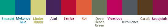 палитра Pantone осень-зима 2013: Изумрудный, Миконос Синий, Зеленая липа, Ягода Асаи, самба, Оранжевый карп, Глубокий зеленый лишайник, Живо...