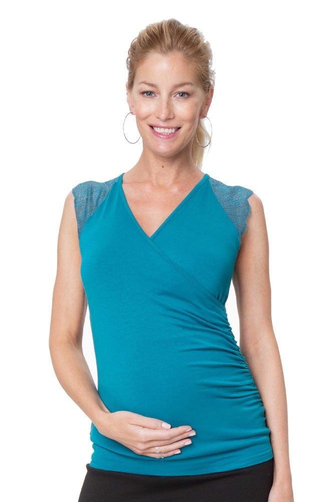 f77cb4f701764 Chelsea Lace Sleeve Maternity & Nursing Top (Teal) in 2019 | New ...