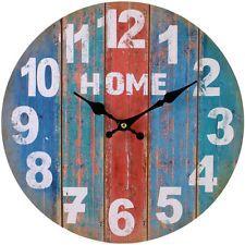 Яркие полоски винтажный французский стиль Shabby Chic ретро дома деревянные настенные часы