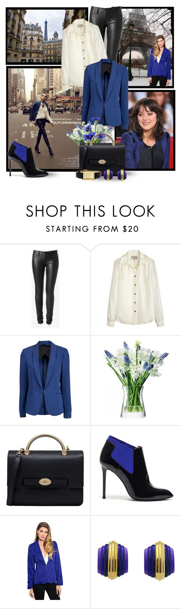"""Street Style in Paris & New York : Royal Blue Blazer & Black Leather Pants"" by mary-gereis ❤ liked on Polyvore featuring Hudson Jeans, Aubin & Wills, rag & bone, LSA International, Mulberry, Kate Spade, women's clothing, women's fashion, women and female"