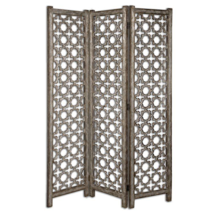 Silver Quatrefoil Folding Screen Room Divider | Scenario Home