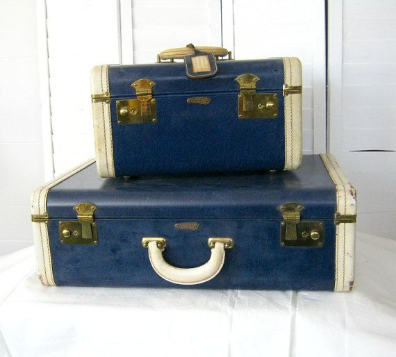 Vintage Navy Blue Supercraft Leather Suitcase Set