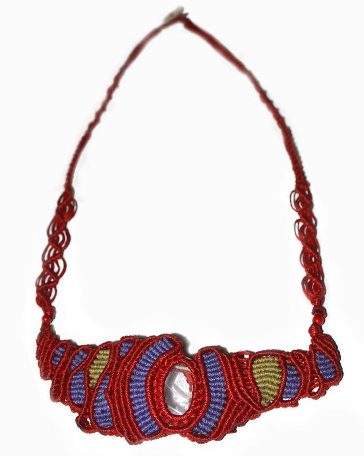 Abstract Multi Colored Macrame Necklace with Crystal