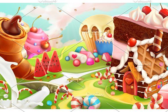 Sweet landscape, vector background Graphics **Sweet landscape, vector background**This archive contains editable .eps vector format (10th vers by Allevinatis Studio