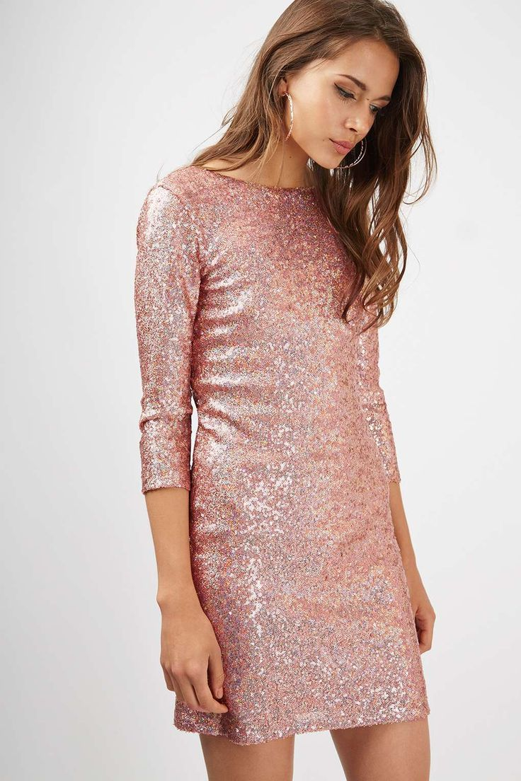 Slash Neck Sequin Mini Dress