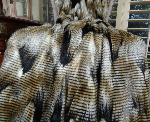 Black Gold White Fur Throw Blanket & by PillowsAndAccents on Etsy