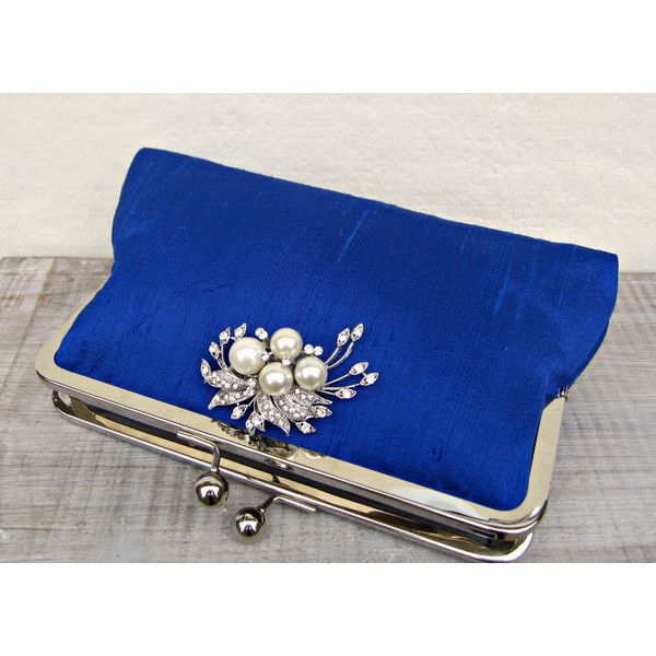 Royal blue clutch bag, royal blue and pearl bridal clutch, blue... (€60) ❤ liked on Polyvore featuring bags, handbags, clutches, blue purse, blue clutches, bridal purse, bridal handbags and silk purse