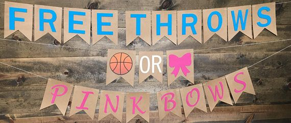 Gender Reveal Banner Perfect Basketball Fans Each Flag Is Hand Threaded With Tan Twine Can Be Space Gender Reveal Banner Bow Gender Reveal Gender Reveal Box