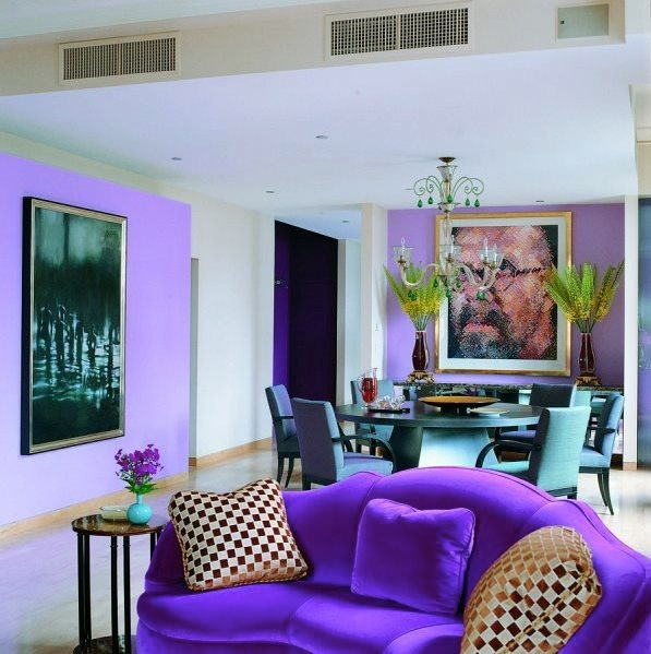 Purple Sofa Blue Chairs