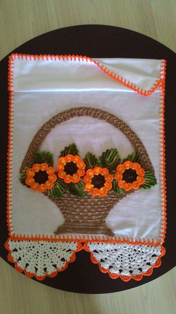 Pano de prato em croche cesto de flores | Ateliê Silvia Rosa | Elo7