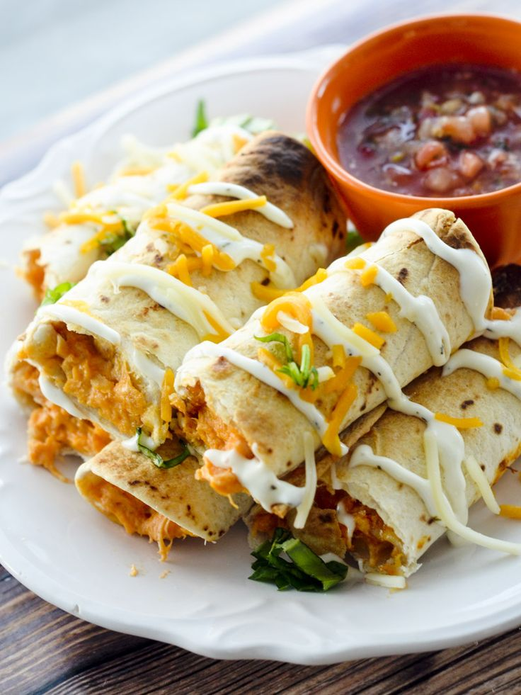 Baked Buffalo Chicken Taquitos for Weight Watcher's - 3 points - Recipe Diaries - Game day food