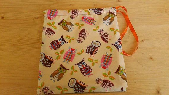 Reversible Owl Print Fully Orange Lined Knitting or Crochet Project bag / Peg Bag / Vanity bag