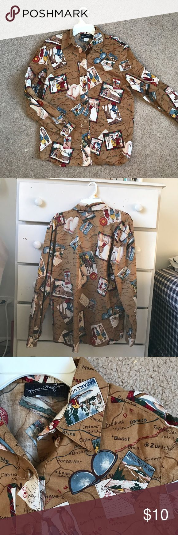Unique Vintage Ski Map Button Down Shirt Condition is like new! Super cool cotton long sleeved Button town featuring alpine ski images overplayed on a map. Size women's x-small. Vintage Tops Button Down Shirts
