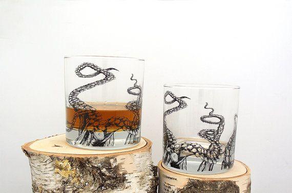 Tentakels van de octopus - scherm gedrukte Whiskey glas - Set van twee 11 oz. Tumbler glazen