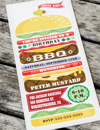 Stacked Hamburger BBQ Party Invitation, #AwesomeProducts #invites #invitations