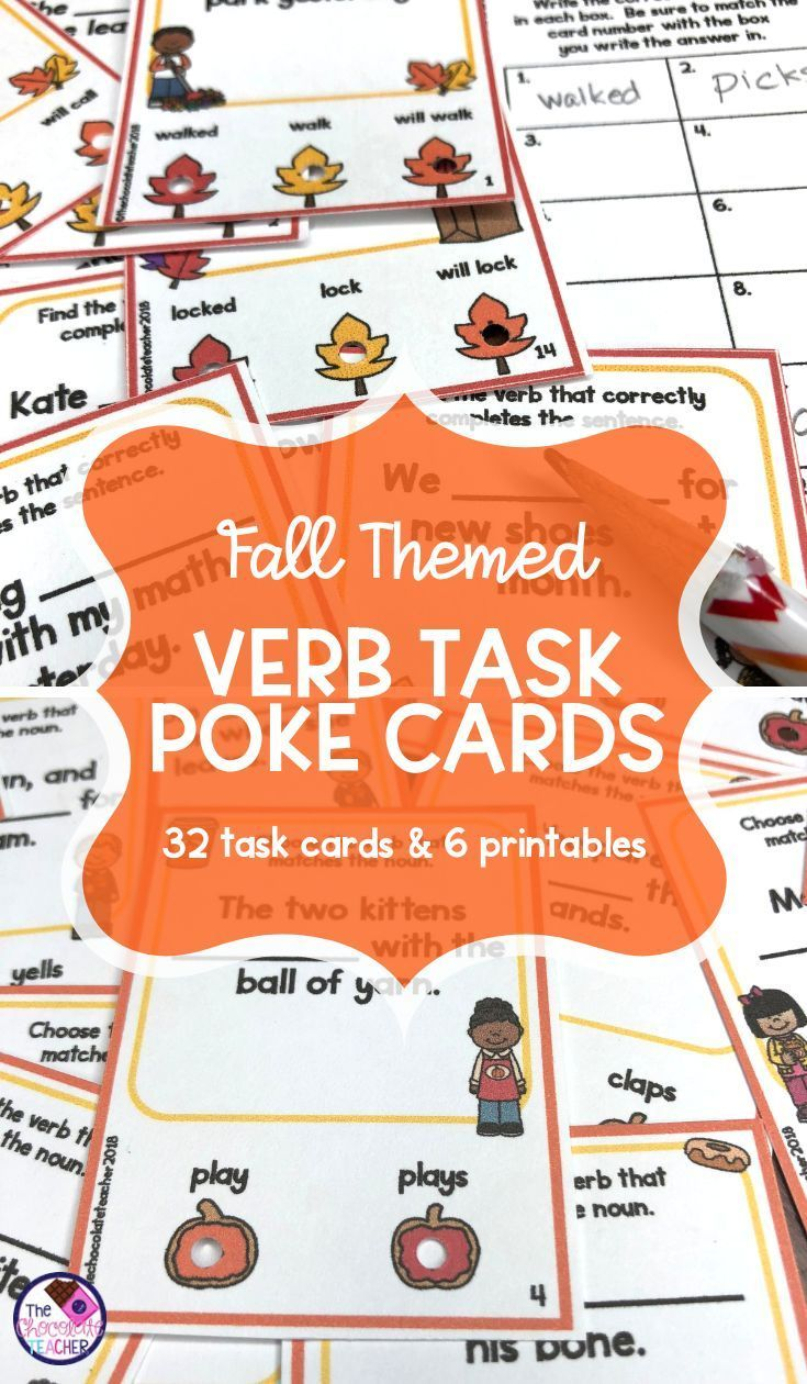 Are You Teaching Verbs To Your First Grade Students This Fall Your Students Will Have Fun And Be Learning Nouns And Verbs Teaching Verbs Task Card Activities [ 1260 x 735 Pixel ]
