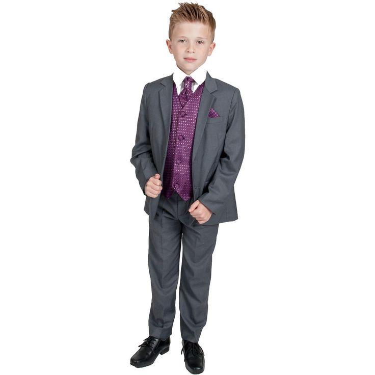 Boys Suits Boys Grey Purple Waistcoat Suit Wedding PageBoy Formal Party 5pc Suit