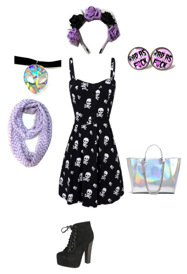Pastel goth by heyhello3593 on Polyvore featuring polyvore, fashion, style, Breckelle's and GUESS