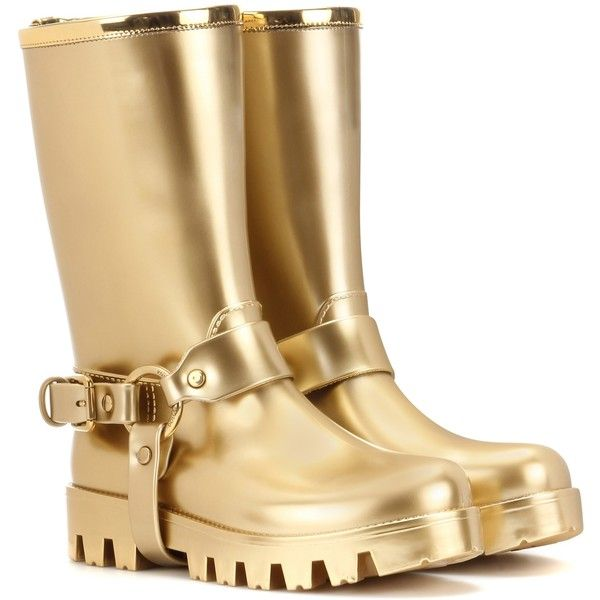 Dolce & Gabbana Rain Boots Rubber Boots ($365) ❤ liked on Polyvore featuring shoes, boots, gold, wellies boots, dolce gabbana shoes, rubber boots, gold boots and dolce gabbana boots