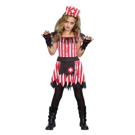 Girls Candy Striper Zombie Costume by Dreamgirl 9938, Girl's, Size: Small, Multicolor