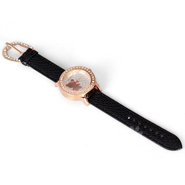 Precioso reloj con detalles de cristales y diseño de osito con correas negras de ecocuero  $7.990