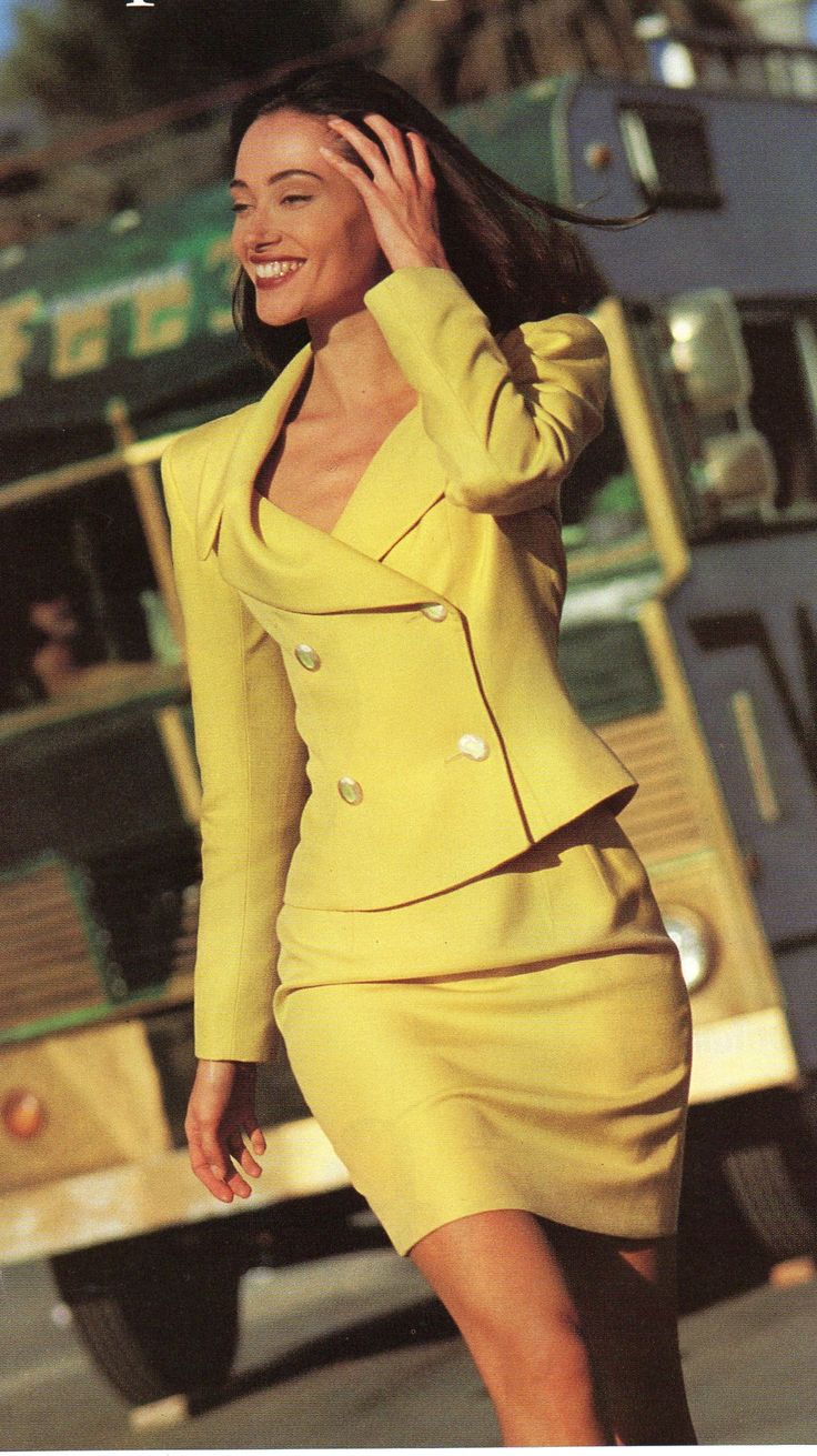 Chloe 1992 Yellow Viscose Double Breasted Jacket Skirt Suit Mademoiselle March 1992